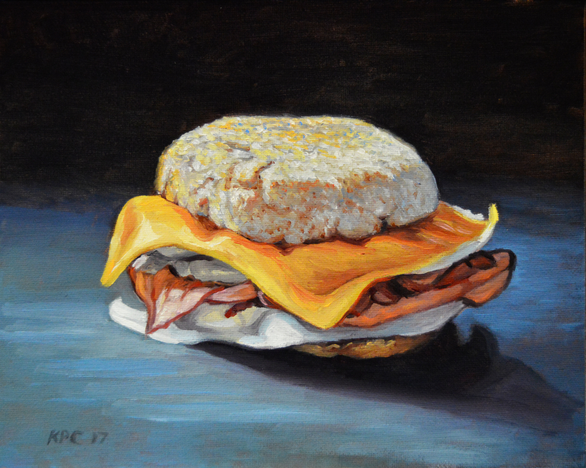 Ham,Egg, and Cheese.  Original Oil Painting by Kenneth P. Cobb (large view)