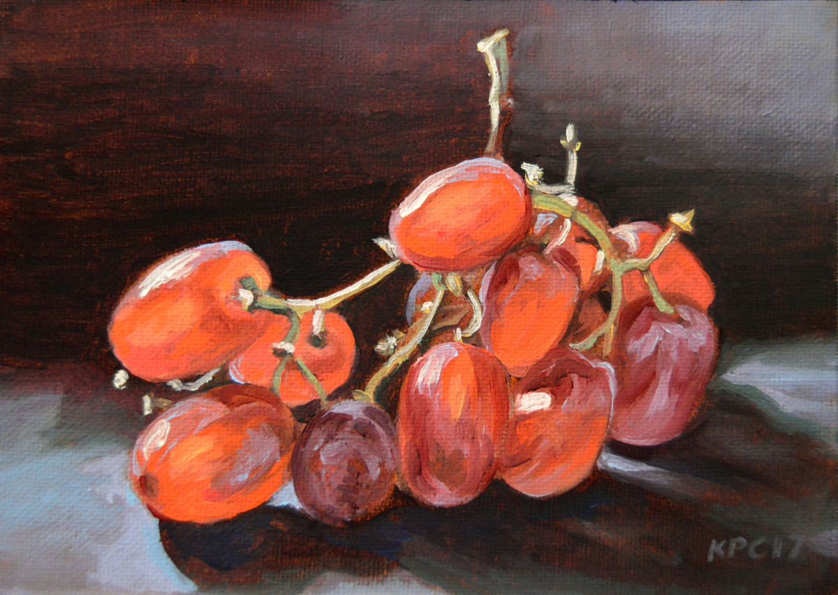 Red Grapes 2.  Original Oil Painting by Kenneth P. Cobb. (large view)