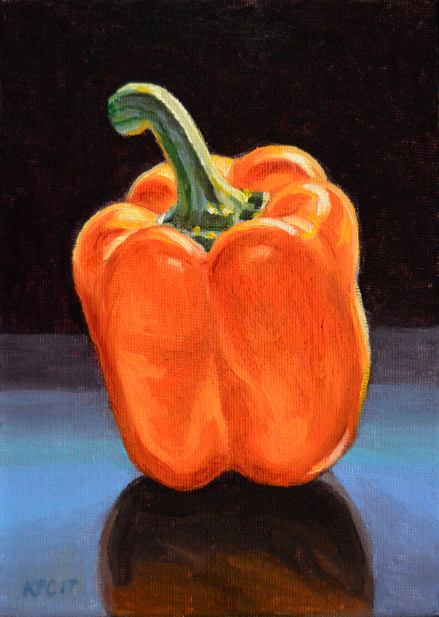 Orange Pepper.  Original Oil Painting by Kenneth P. Cobb. (large view)