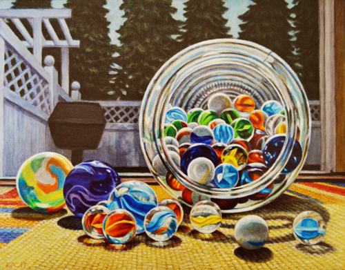 Glass Marbles. Original Oil Painting by Kenneth P. Cobb