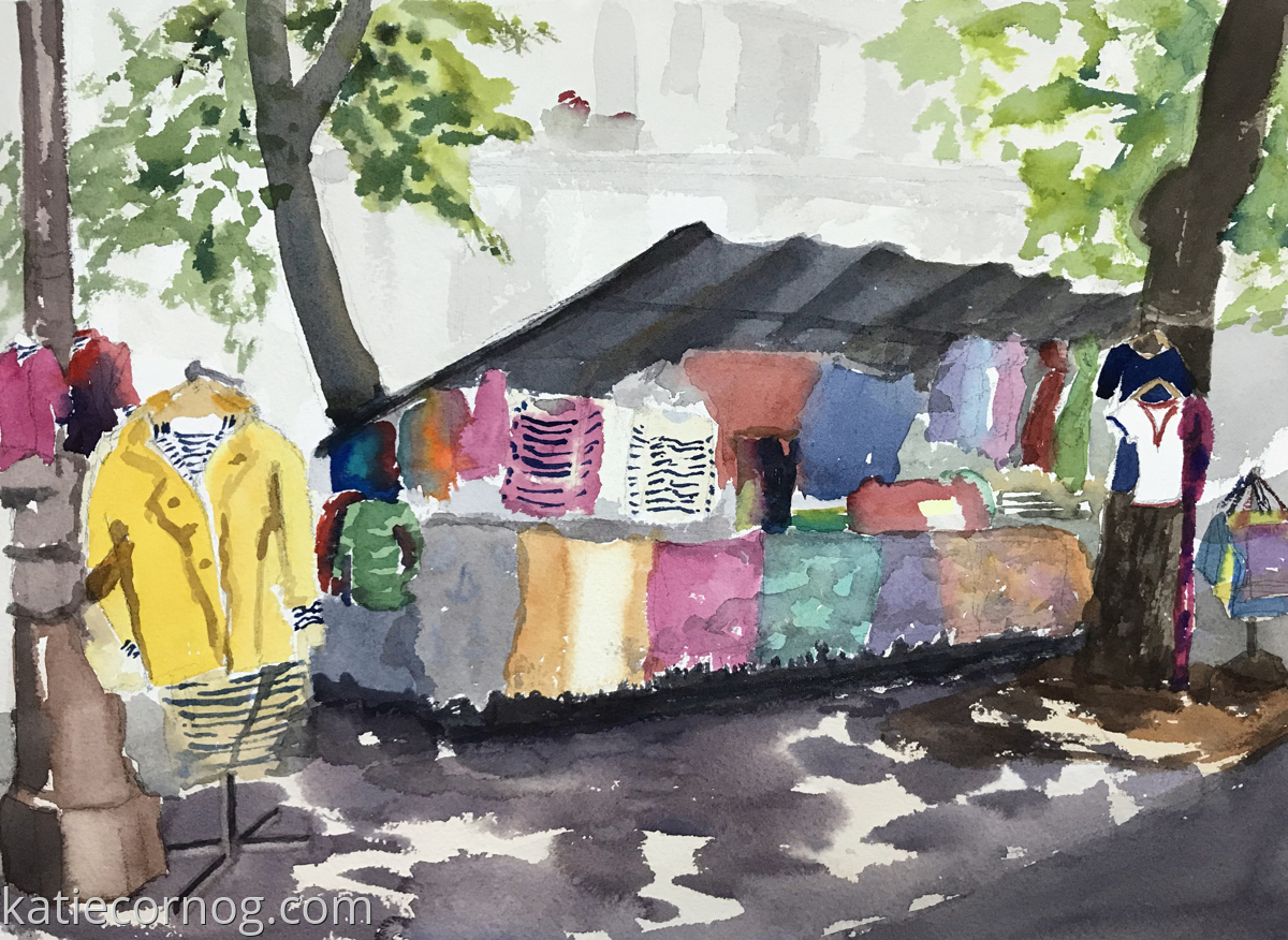 Striped Clothing Stall, Bastille Market (large view)