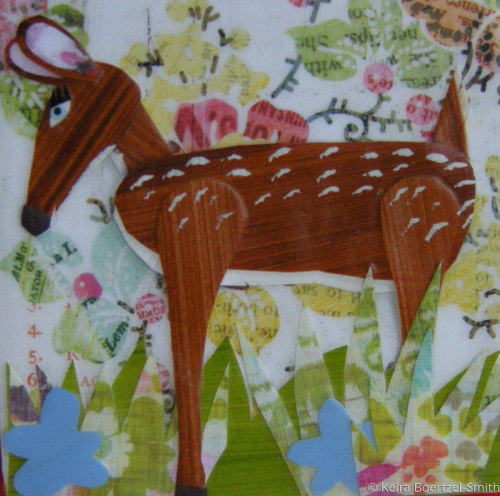 Cut Paper Deer on canvas