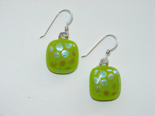 Green dichroic earrings