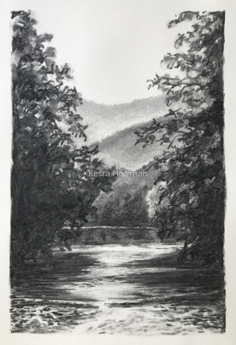 Morning On Cowpasture River, Nimrod, VA ~ Charcoal by Kesra Hoffman