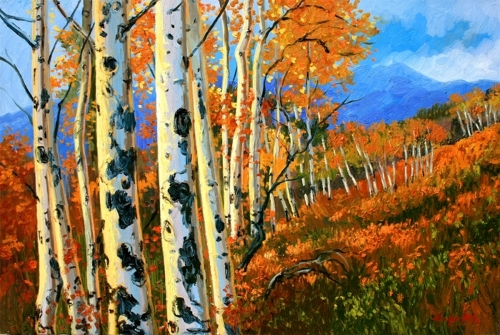 A grove of aspen in full fall color overlook the slopes in Arrowhead, Colorado (large view)
