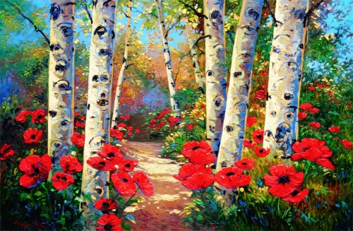 Aspen Poppies Trail Into the Light