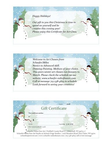 Holiday Art Class Gift Certificate