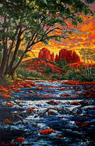 Sedona Reflections- LE Fine Art Giclee Hand Embellished by the Artists