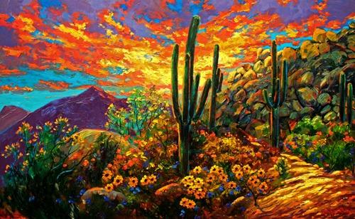 Desert Sunset Original Oil