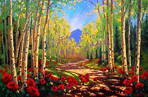 Aspen Poppy Trail Limited Edition Fine Art Giclee Signed and numbered Print on Canvas hand embelllished by the artists.