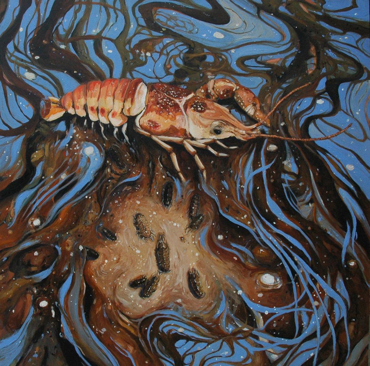 Crayfish Family - Acrylic on Wood, 2016 (large view)