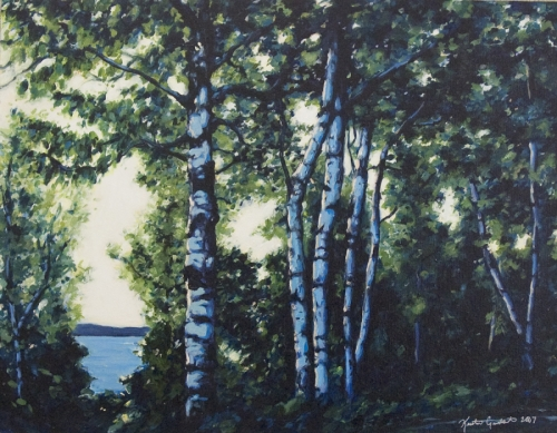 Birches in Blue (large view)