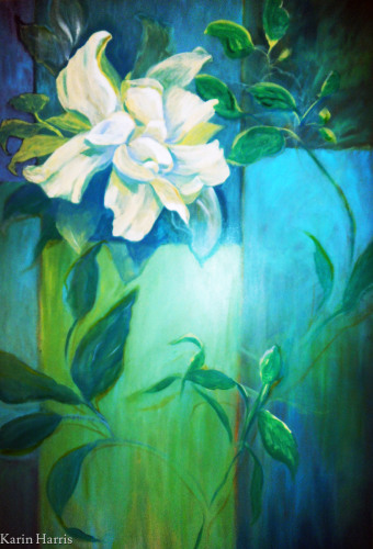White Camellia & Vines by Karin Harris