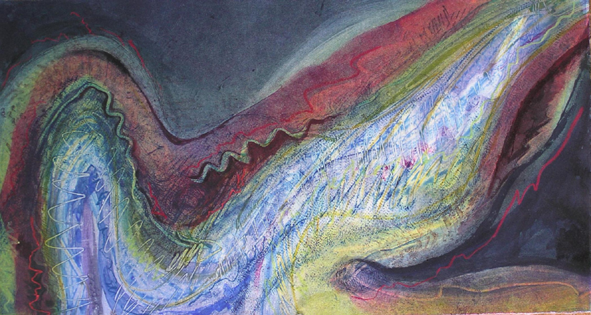 Semi Abstract original print on rag paper depicting an imagined river. (large view)