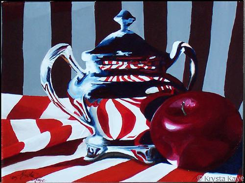 Silver Pot with Apple
