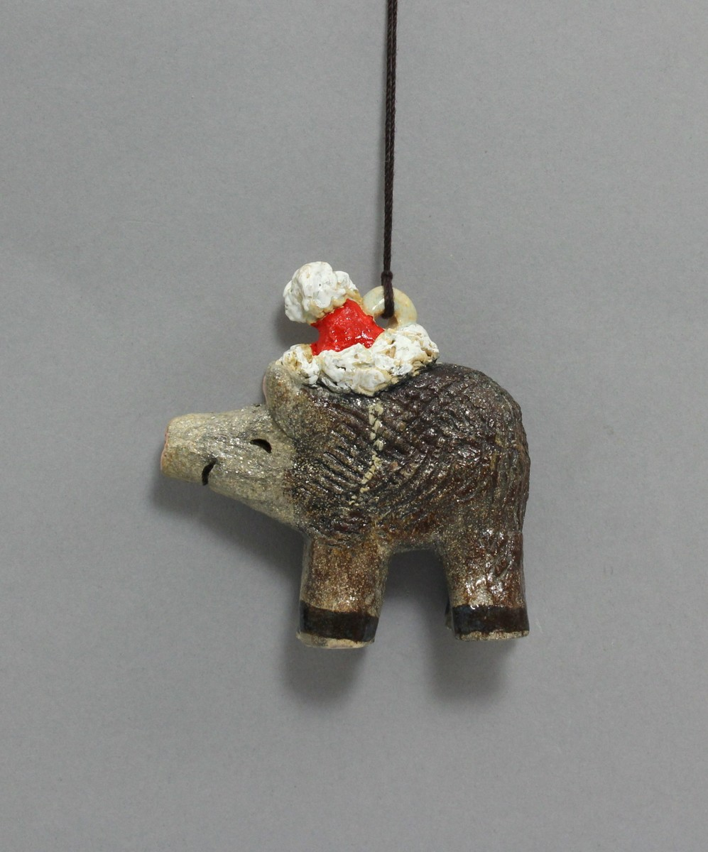 3D Javelina with Santa Hat Ornament (large view)