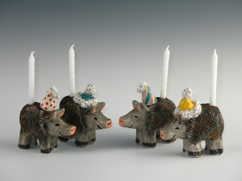 Javelina Birthday Candle Holders