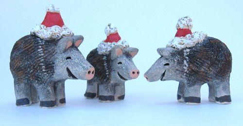 Christmas Javelina Family in Santa Hats