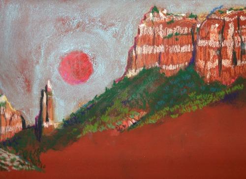 Lunar Eclipse in the Red Rocks by Karlene Koch Voepel