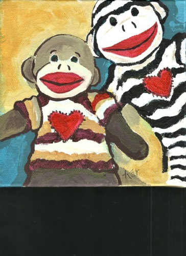 Sock Monkey Selfie by Karlene Koch Voepel