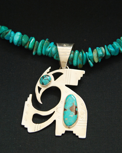 Rainbird pendant with turquoise (large view)
