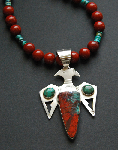 Rainbird pendant with Sonoran Sunset and turquoise stones (large view)