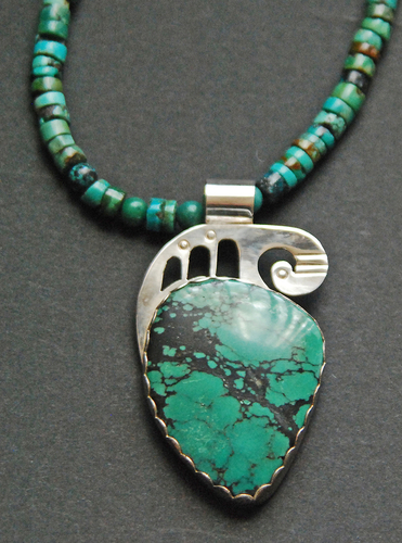 Southwest pendant with turquoise (large view)