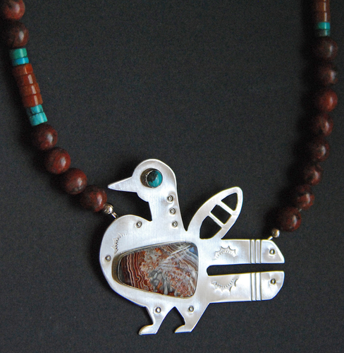 Southwest bird pendant with crazy lace agate and turquoise (large view)