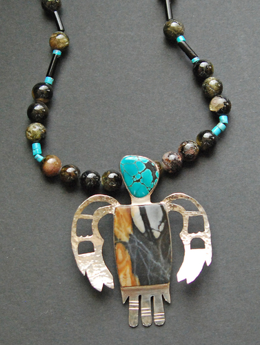 Thunderbird with turquoise head & picasso marble body (large view)