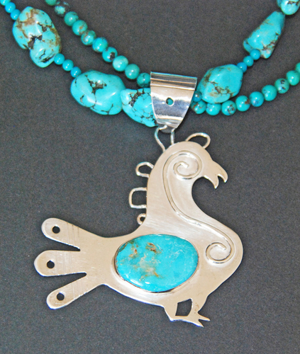 SW bird with wire overlay set with turquoise (large view)