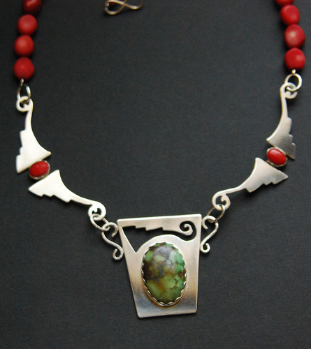 SW pendant with turquoise, coral connectors (large view)