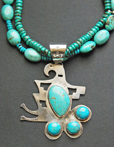 Rain bird pendant with turquoise (large view)