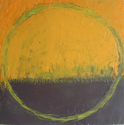 abstact, purple, yellow, circle -  Painting
