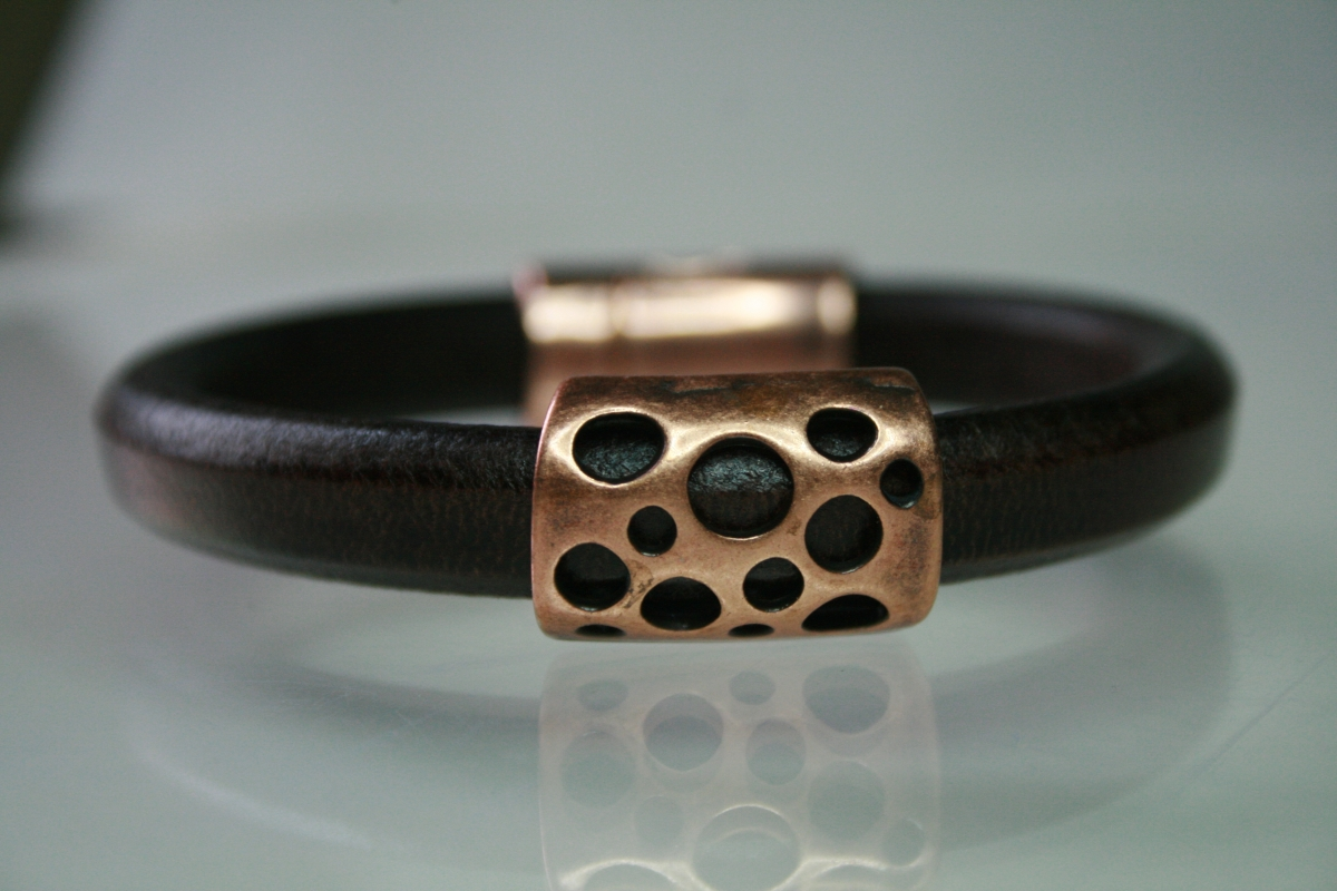 Brown Leather and Copper Hole Bracelet (large view)