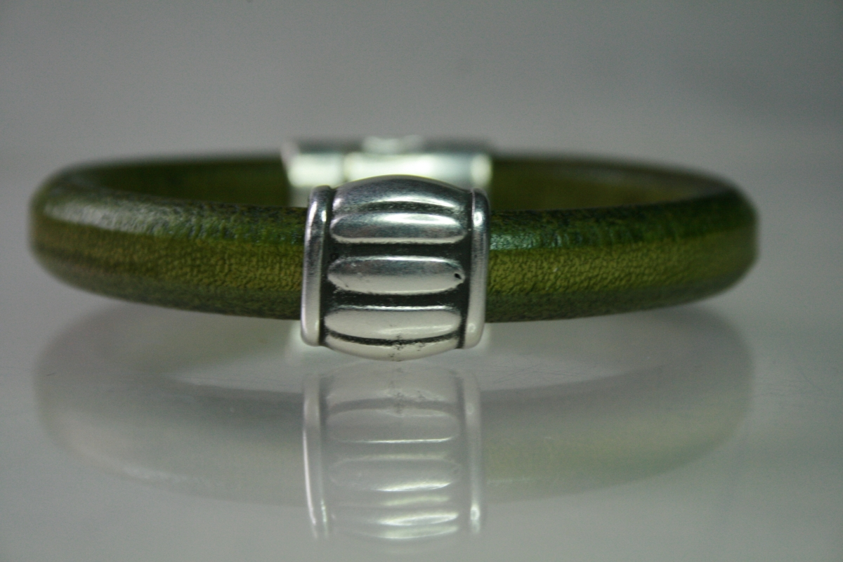 Green Leather &  Silver Barrel Bead (large view)