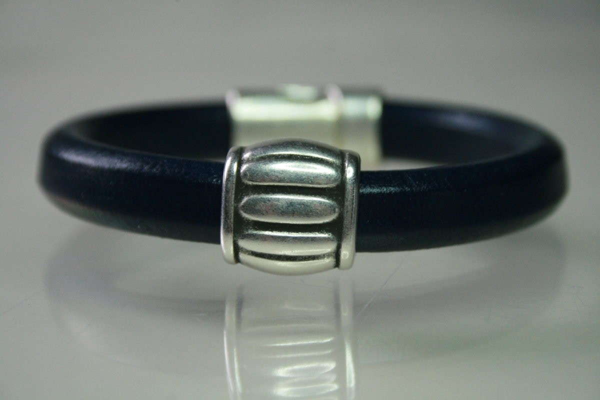 Navy Leather & Silver Barrel Bracelet (large view)