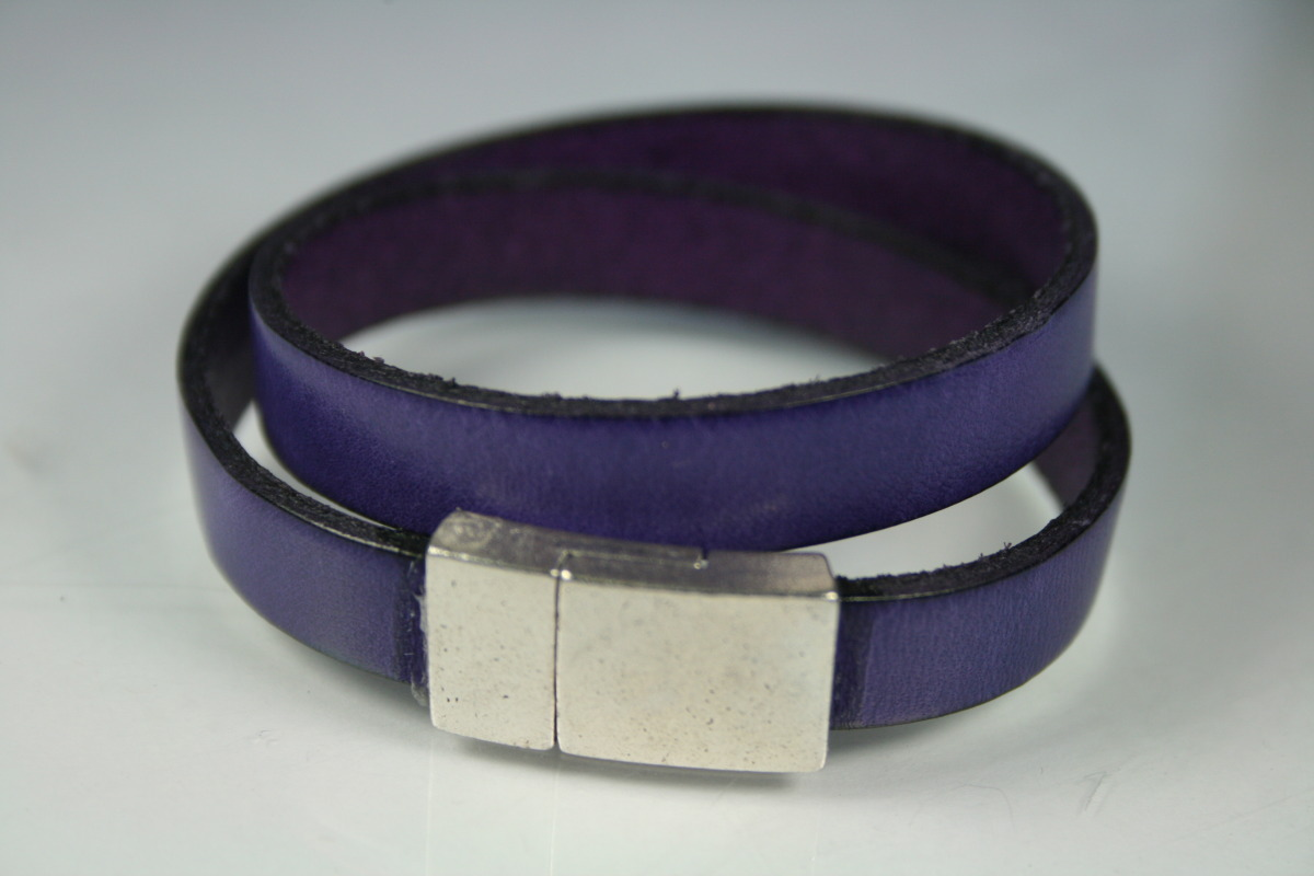 10mm Strand of Purple Leather Double Wrap Bracelet (large view)