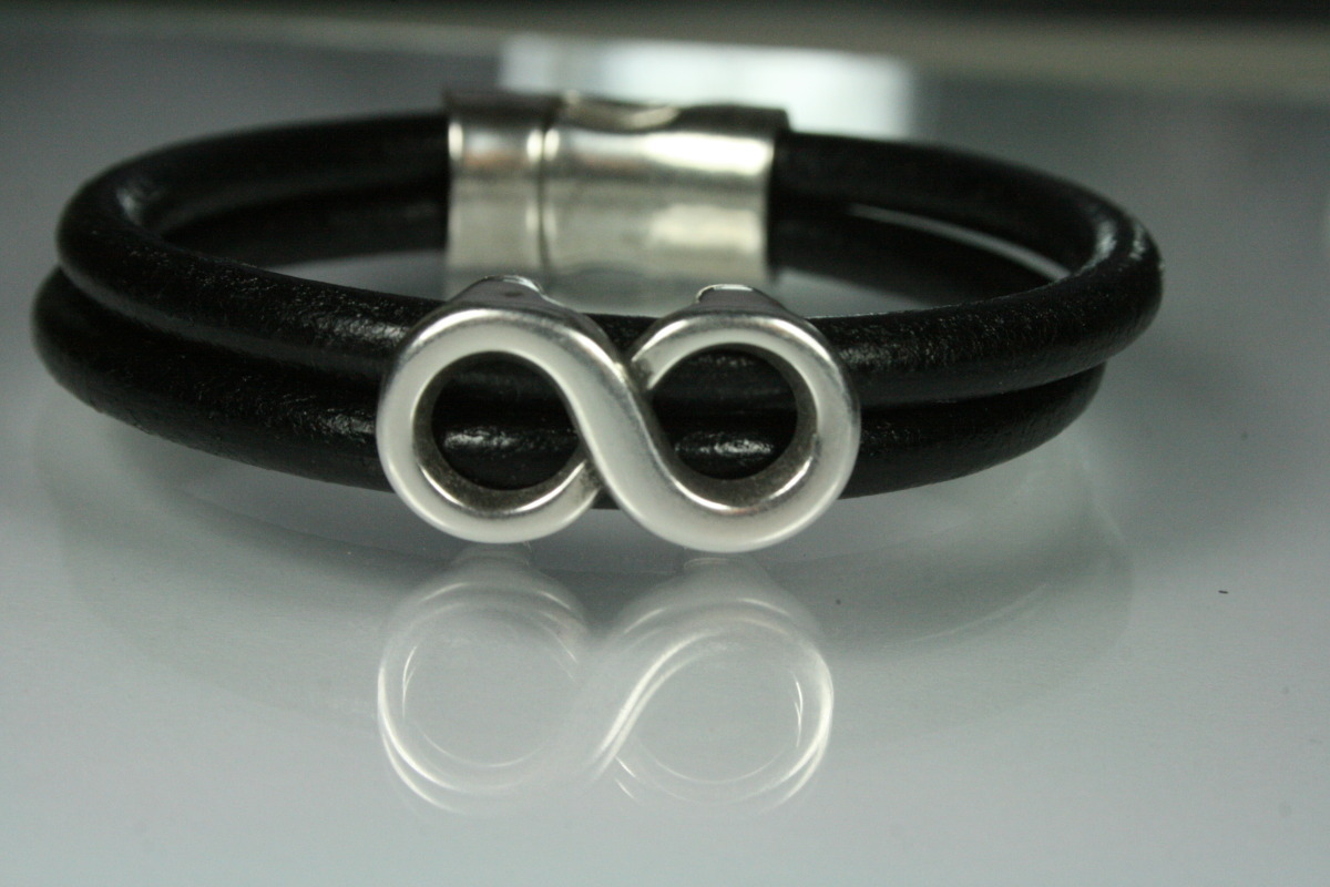 Double Black Leather & Infinity Bracelet (large view)