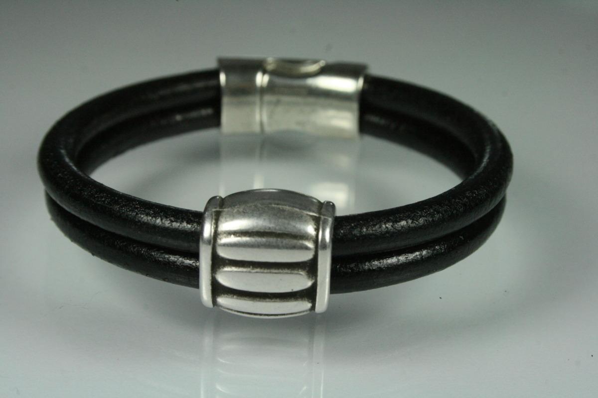 Double Black Leather & Barrel Bracelet (large view)