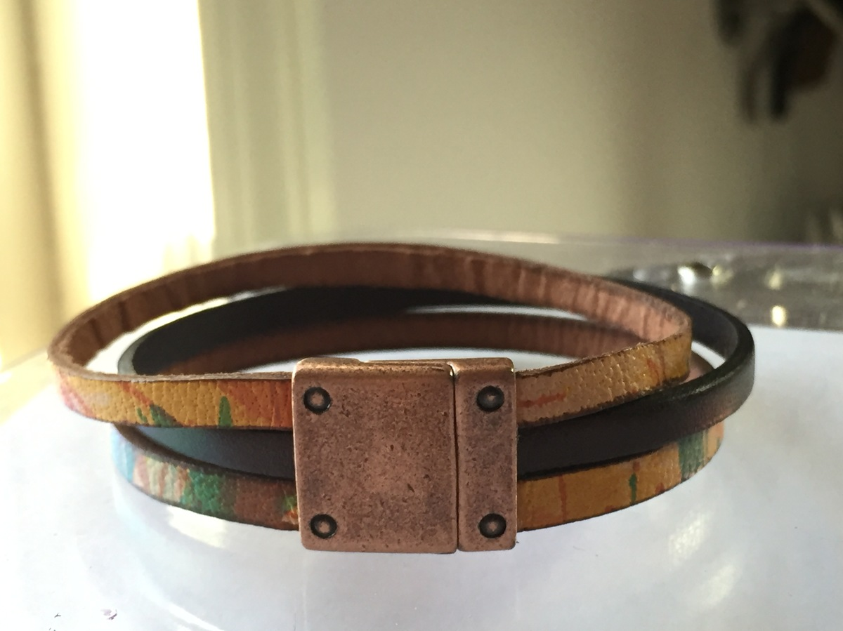 3 Strand 15mm Cuff - Brown Multi Leather (large view)