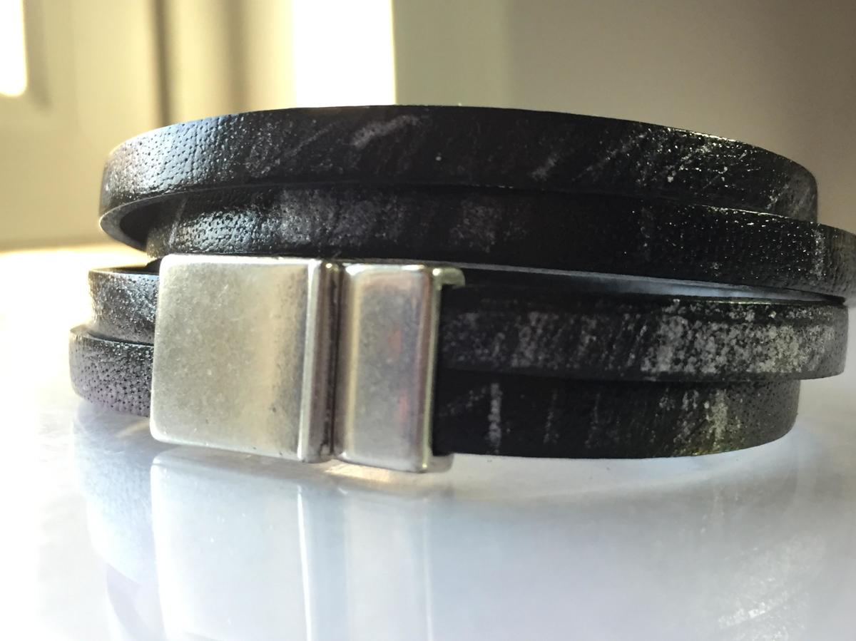 2 Strand Double Wrap - Black & Silver Leather (large view)