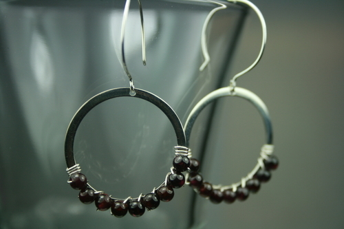 Garnet wrapped hoops