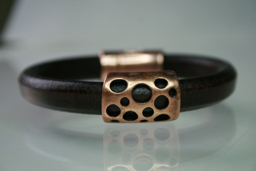Brown Leather and Copper Hole Bracelet