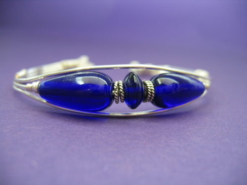 Cobalt Glass and Sterling Silver Bracelet (large view)