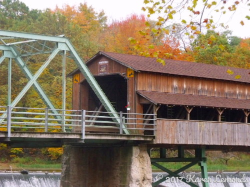 Covered Bridge, Falling Leaves