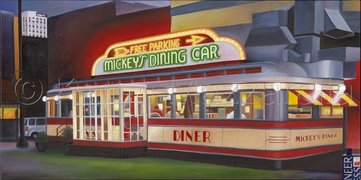 Painting mickey 39 s diner original art by karen mazzarella for Diner painting