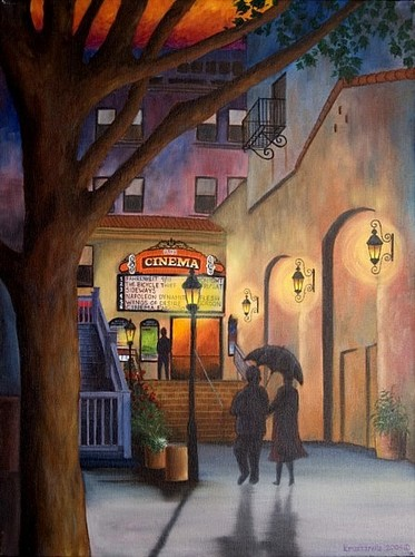 osio cinema couple walking in rain umbrella movies night city lights (large view)