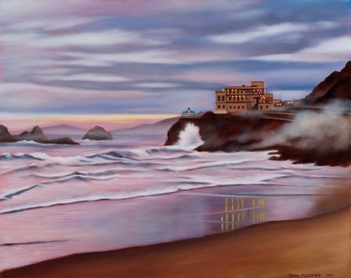 sunset shore beach cliff house san francisco lights road misty (large view)