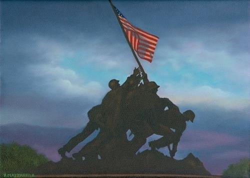 Marine Memorial (Iwo Jima) at Sunset (large view)