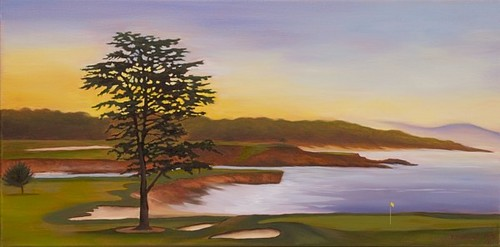 Sunrise over 18th at Pebble Beach (large view)